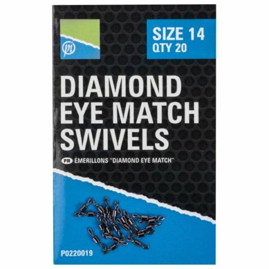 Preston DIAMOND EYE MATCH SWIVELS - SIZE 14 forgó